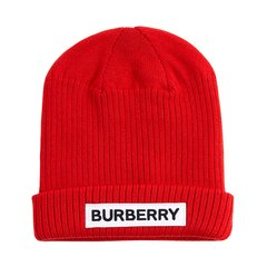 19秋冬 BURBERRY/博柏利 男女童羊毛徽标装饰罗纹针织帽图片
