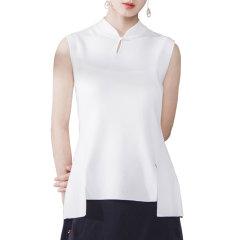 SHENGJIANG/生姜女改良中式服改良旗袍领上衣针织无袖背心女夏图片