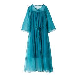 YAWANG CHEN/YAWANG CHEN女士连衣裙 19新品桑蚕丝乔其俩件套文艺风连衣裙图片