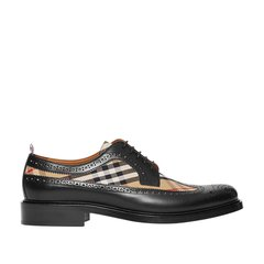 BURBERRY/博柏利 男鞋 镂空雕花装饰经典格纹拼皮革德比鞋皮鞋商务休闲鞋8016258图片