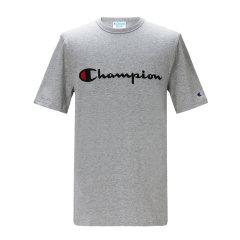 19年春夏 Champion/冠军 美版刺绣草写LOGO短袖运动T恤宽松男女情侣图片