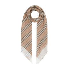Burberry女士羊毛丝绸条纹复古围巾