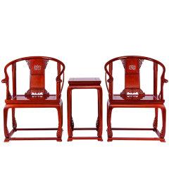 【故宫博物院监制】滑氏红木红酸枝/花枝(学名:巴里黄檀)皇宫圈椅3件套卷草纹带托泥圈椅图片