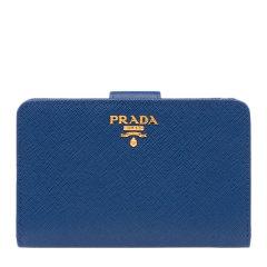 PRADA/普拉达 女士纯色时尚LOGO标识牛皮短款拉链两折零钱包钱夹女包 多色可选 1ML225-2EBW图片