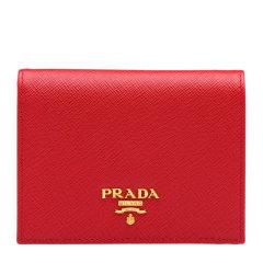 PRADA/普拉达 女士时尚纯色短款牛皮折叠钱包钱夹卡夹卡包女包 多色可选 1MV204-QWA图片