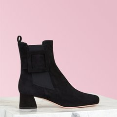 RogerVivier/罗杰·维维亚/女士靴子短靴 绒面小牛皮鞋面 Très Vivier 皮革饰扣切尔西踝靴图片