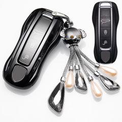 pinganzhe 适用于保时捷车用钥匙壳改装扣macan卡宴panamera汽车钥匙包套 软胶钥匙包图片