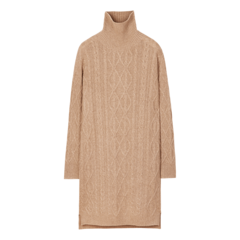 ERDOS/鄂尔多斯 19早秋新品 半高领长袖纯羊绒绞花中长款女士连衣裙图片