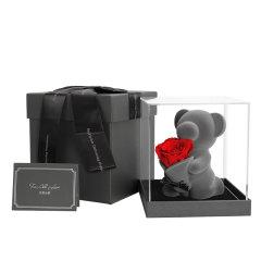JoyFlower情人节礼物进口永生花跪地求爱玫瑰音乐熊-爱你一万年图片