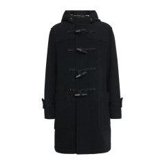 BURBERRY/博柏利 19秋冬 黑色羊毛时尚修身系扣连帽呢子男士大衣图片