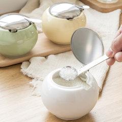 日本进口马卡龙色陶瓷调料罐    带勺糖罐盐罐    利快Zero japan彩色厨房调味瓶 (多色可选)图片