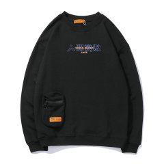 嘿帕/HEIPAR 2019秋季新款欧美嘻哈潮牌趣味印花圆领卫衣 男士口袋装饰长袖T恤图片