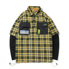 嘿帕/HEIPAR 2019秋季新款欧美嘻哈潮牌假两件拼色格子衬衫男士翻领口袋装饰衬衣外套 ZXCY-YM065图片