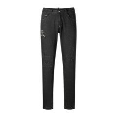 CREAZIONI/克莱切尼男士牛仔裤男士潮流个性贴布破洞水洗直筒牛仔裤图片