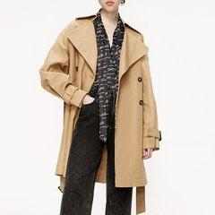 MO&Co./摩安珂女士风衣2019秋季新品翻领腰带中长款风衣外套MAI3TRC004图片