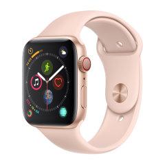 Apple?Watch Series?4 GPS?+?蜂窝网络,智能手表 44 毫米银色铝金属表壳搭配白色运动型表带图片