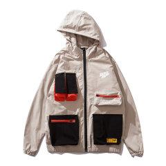 嘿帕/HEIPAR 欧美嘻哈国潮拼接撞色宽松机能工装夹克外套 男士户外多口袋拉链连帽上衣 ZXSK-9121图片