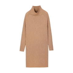 ERDOS/鄂尔多斯 19早秋新品 半高领中长款纯羊绒女士连衣裙图片