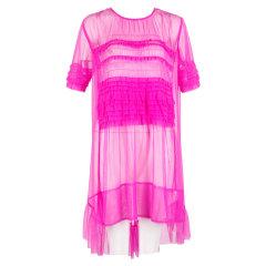 GORGOR/GORGOR19春夏 女士连衣裙短袖 薄纱荷叶边连衣裙18FVDRF016图片