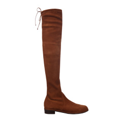 Stuart Weitzman/斯图尔特韦茨曼 SW 女士黑色麂皮低跟靴粗跟靴及膝靴长筒靴长靴女靴女鞋 LOWLAND-SUEDE 多色可选图片