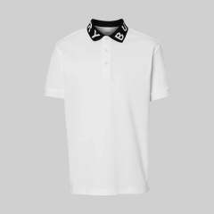 BURBERRY/博柏利 经典款男士纯色徽标嵌花珠地网眼布棉质翻领短袖POLO衫 8013502图片