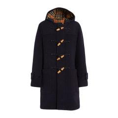Burberry/博柏利 19秋冬 男士纯色羊毛木质纽扣长款毛呢连帽大衣外套图片