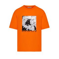 MOCO男装品牌COMMONGENDER/COMMONGENDER2019秋冬季新品前片印花水洗烂边男士短袖T恤TEECAI3TEE005图片