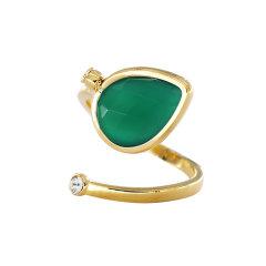【O.YANG/O.YANG】水晶戒指女红色天然玛瑙情侣黄金指环求婚戒纪念日生日礼物图片