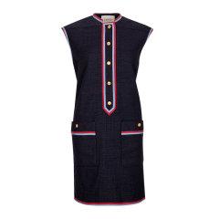GUCCI/古驰 19秋冬 女士羊毛条纹金扣时尚修身无袖连衣裙图片