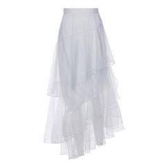 【ONTIME】【Designer Womenwear 19秋冬新品】FLONAKED/FLONAKED 银丝网纱荷叶边长塔裙 两色  女士半身裙图片