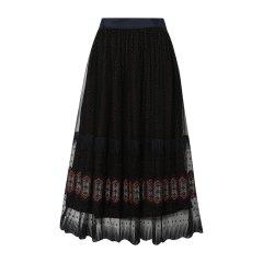 【DesignerWomenwear】KatyHuangStyle/KatyHuangStyle印花刺绣双层中长款女士半身裙图片