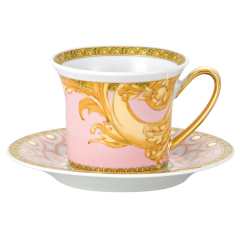Rosenthal Meets Versace粉色拜占庭浪漫婚礼带碟意式浓缩咖啡杯图片