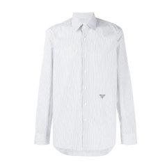 PRADA/普拉达 19秋冬 男士条纹棉质LOGO刺绣条纹长袖衬衫衬衣图片