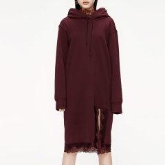 MO&Co./摩安珂女士连衣裙2019秋季新品拼接蕾丝连帽抽绳连衣裙MAI3DRS017图片