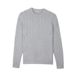 ERDOS/鄂尔多斯 19秋冬新品 圆领绞花长袖纯羊绒套衫男士针织衫/毛衣图片