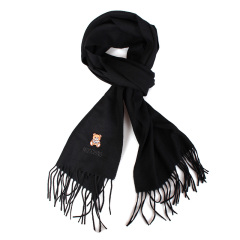 MOSCHINO/莫斯奇诺 新款黑色羊毛泰迪熊图案男女同款流苏围巾【11款颜色可选】50124 M5293【爆款主推】图片