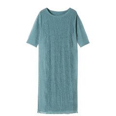 YAWANG CHEN/YAWANG CHEN女装>女士裙装>女士连衣裙轻松易搭 棉提花休闲通勤灰绿色连衣裙图片