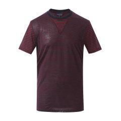 Lanvin/浪凡男士T恤纯棉圆领短袖双色条纹拼接设计男士短袖T恤图片