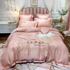 Fantti/芬缇 床上用品60支埃及长绒棉清新刺绣四件套被罩床罩被单枕套-初夏图片