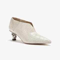 lost in echo 链条跟尖头切尔西短靴 漆皮异形跟中低跟女鞋图片