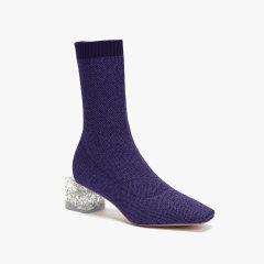 lost in echo 银箔水晶跟方跟短袜靴 高弹飞织方头中低跟女鞋图片