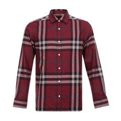 【特惠促销款】BURBERRY/博柏利  格纹棉质男士绯红衬衫#8004882深蓝色 XXL图片