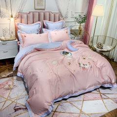 Fantti/芬缇 床上用品60支埃及长绒棉清新刺绣四件套被罩床罩被单枕套-星空图片