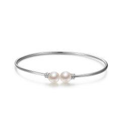 gNpearl/京润珍珠 手镯圆和 S925银镶淡水珍珠手镯 8-9mm 圆形 白色 珠宝女图片