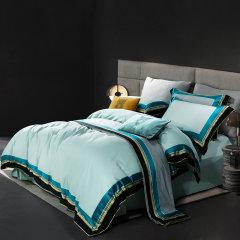 MY SIDE 秋冬新品 100%棉被套床单贡缎床上用品 100支色织大提花拼色四件套-初冬暖阳图片