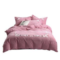 MY SIDE 秋冬新品 加厚保暖牛奶绒 被套床单床上用品 洋绵绒毛巾绣四件套-恋上草莓图片