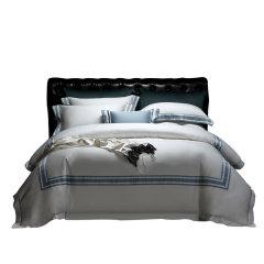 MY SIDE 秋冬新品 100%棉被套床单贡缎床上用品 100支匹马棉拼色四件套-無缺拼色图片