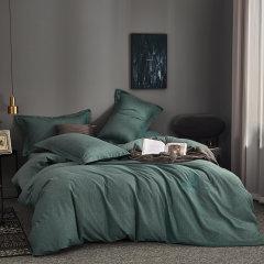 MY SIDE 秋冬新品 保暖磨毛 100%棉被套床单床上用品 全棉肌理纹绣花磨毛四件套-格里芬图片