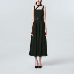 VACAE/VACAE2019秋季新品皮革饰带无袖洋装女士连衣裙图片