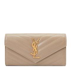 SAINT LAURENT PARIS/圣罗兰 女士牛皮金属logo装饰长款钱包钱夹手拿包图片